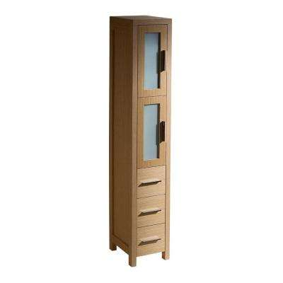 Torino 12 in. W x 68-13/100 in. H x 15 in. D Bathroom Linen Storage Tower Cabinet in Light Oak