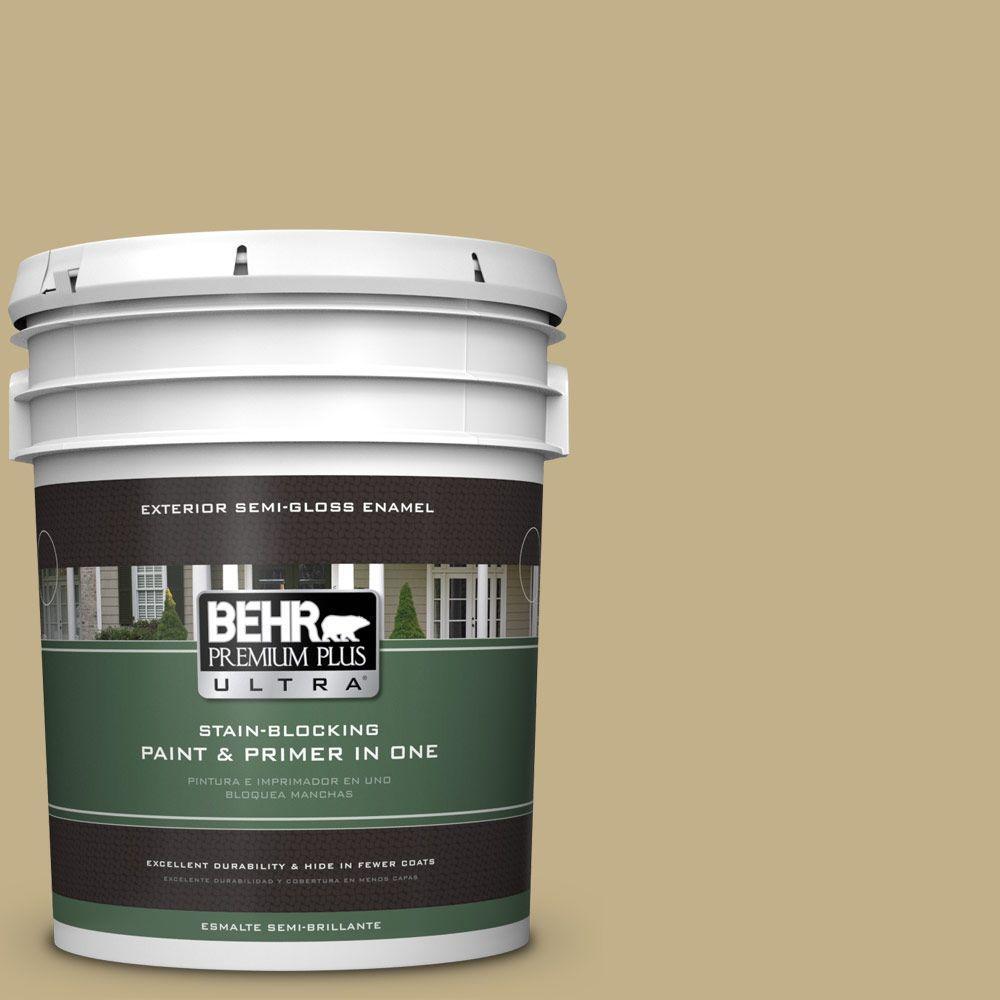 BEHR Premium Plus Ultra 5-gal. #380F-5 Harmonic Tan Semi-Gloss Enamel Exterior Paint