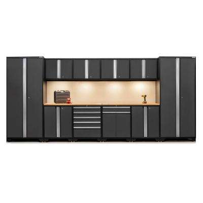 Pro 3 Series 85 in. H x 184 in. W x 24 in. D 18-Gauge Welded Steel Bamboo Worktop Cabinet Set in Gray (12-Piece)