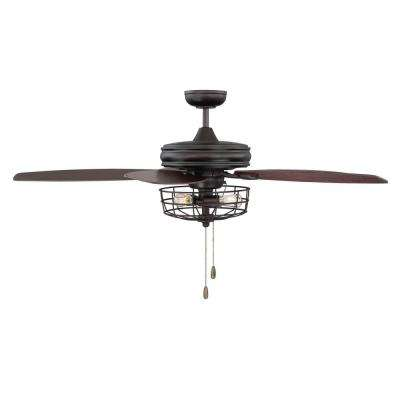 52 in. Oil Rubbed Bronze Ceiling Fan with Metal Wire Cage