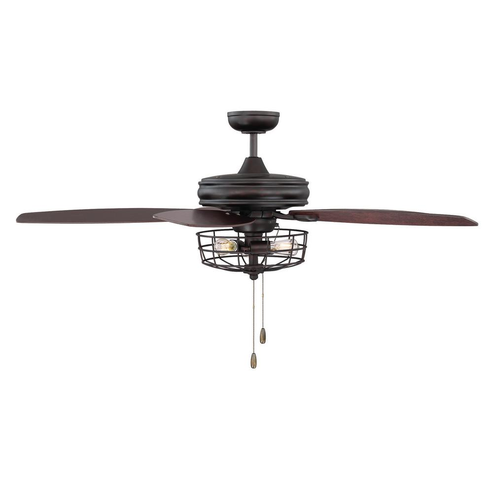 Filament Design 52 In Oil Rubbed Bronze Ceiling Fan With Metal Wire Wiring Black White Blue Cage