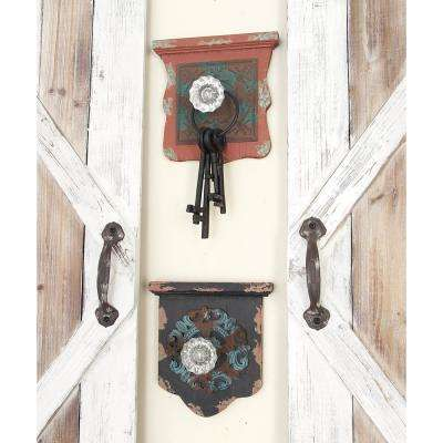 8 in. W x 8 in. H Wood Mini-Shelf and Acrylic Knob Wall Hooks in Distressed and Chipped Multicolor Paint (Set of 4)
