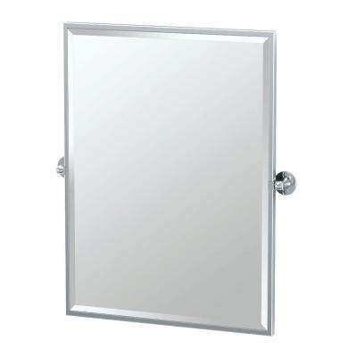 Cafe 28 in. x 33 in. Framed Single Large Rectangle Mirror in Chrome