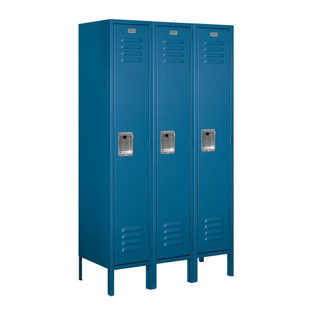 Salsbury Industries 61000 Series 36 in. W x 66 in. H x 15 in. D Single Tier Metal Locker Unassembled in Blue