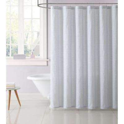 Kids Gingham 72 in. Gray Shower Curtain
