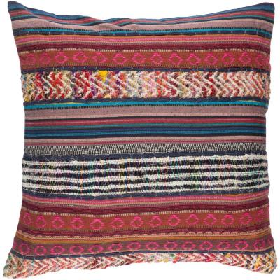 Cochem Pink Striped Polyester 20 in. x 20 in. Throw Pillow