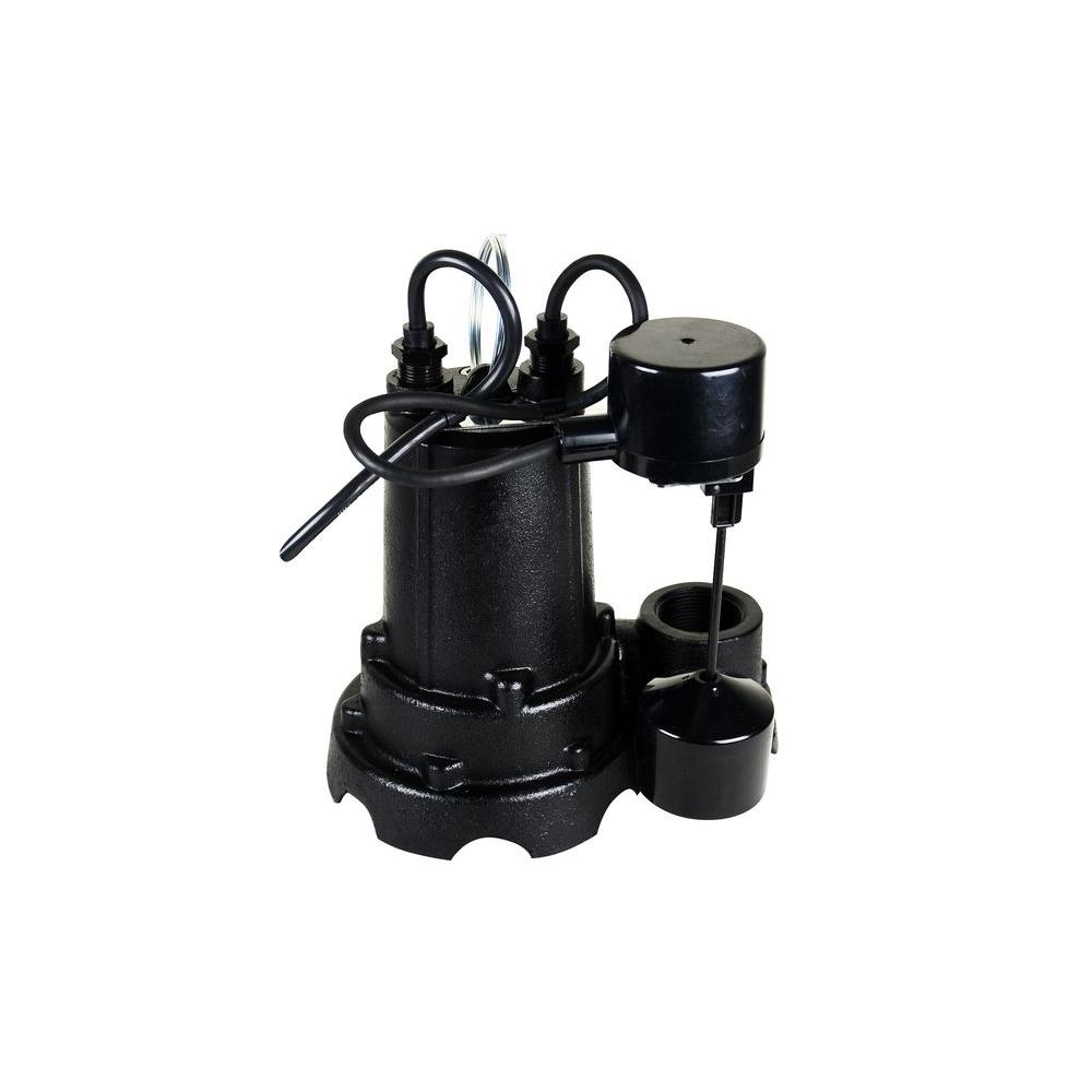 Water Source 1/2 HP Cast Iron Sump Pump With Vertical
