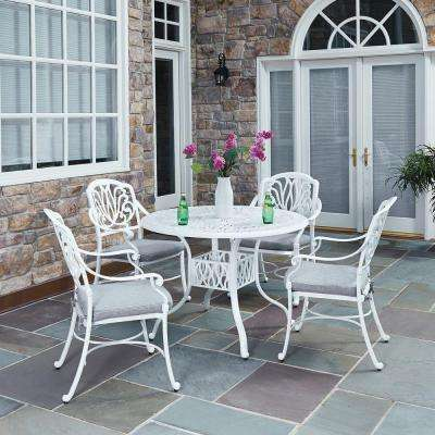 Floral Blossom White 5-Piece All-Weather Patio Dining Set with Cushions