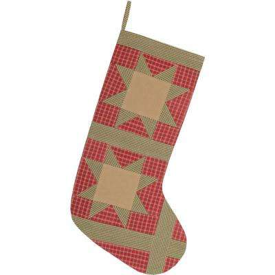 20 in. Cotton Red Dolly Star Primitive Christmas Decor Patch Stocking