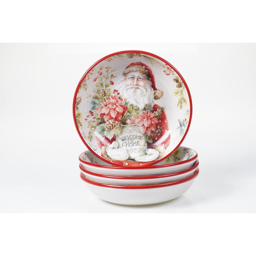 Christmas Story 30 oz. Multicolored Earthenware Soup Bowl (Set of 4)