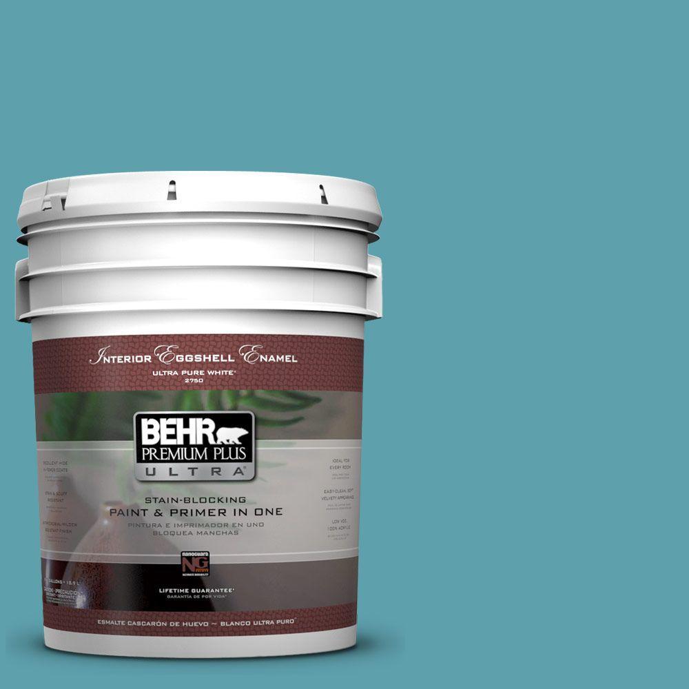 BEHR Premium Plus Ultra 5-gal. #BIC-53 Turquoise Eggshell Enamel Interior Paint