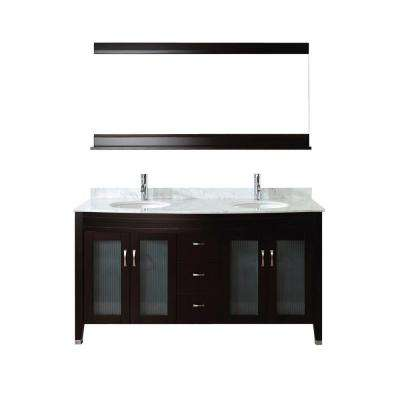 Alba 63 in. Vanity in Chai with Marble Vanity Top in Chai and Mirror