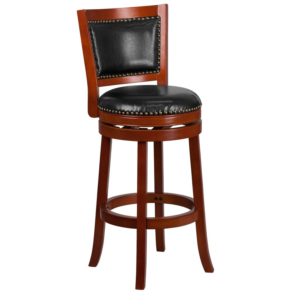 30.5 in. Black and Light Cherry Swivel Cushioned Bar Stool