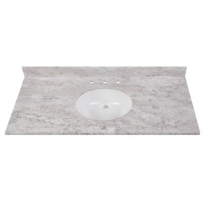 49 in. W x 22 in. D Stone Effects Vanity in Winter Mist with White Sink