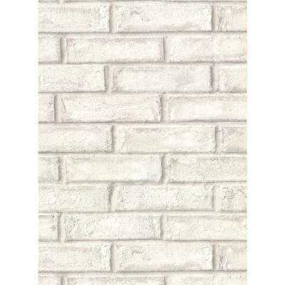 60.8 sq. ft. Appleton Off-White Faux Weathered Brick Wallpaper