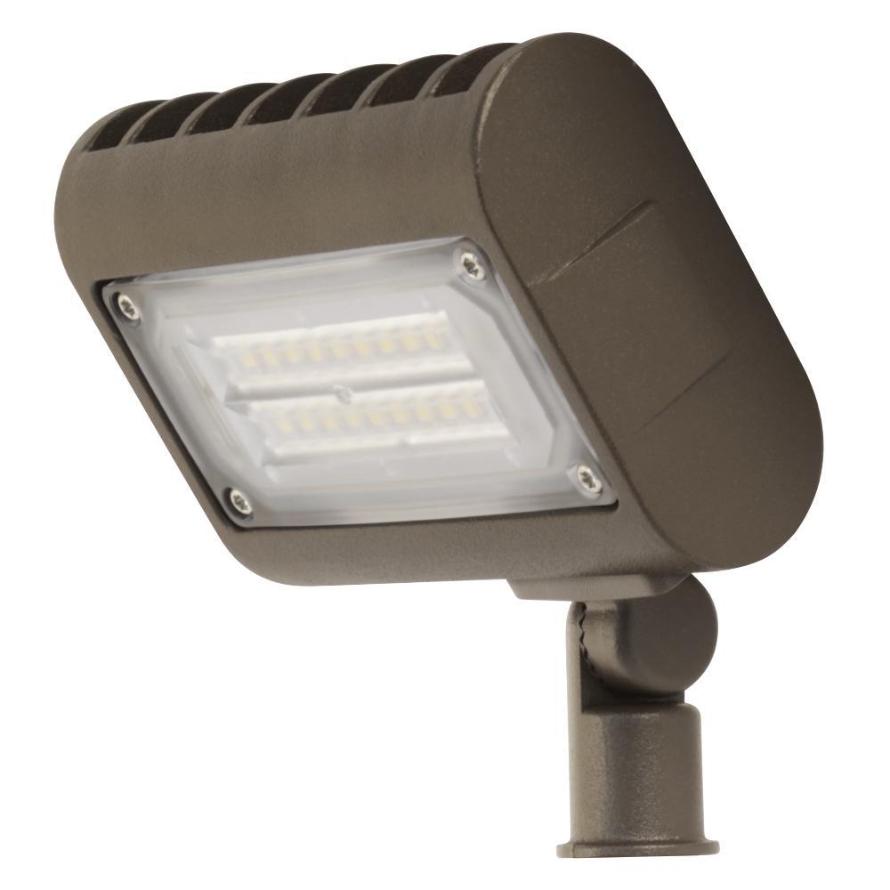 Commercial Grade 15-Watt Daylight (5000K) Bronze Outdoor Integrated LED Adjustable Flood Light