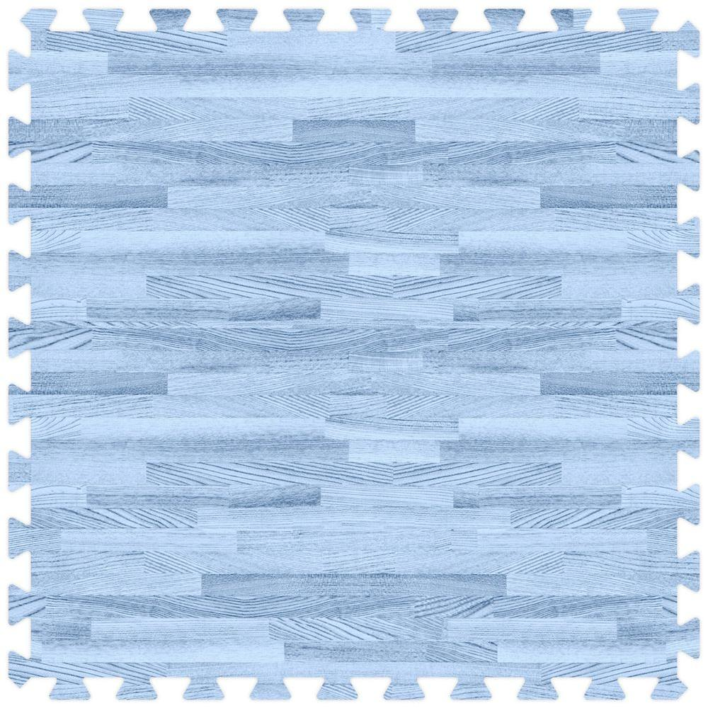 Groovy Mats Blue 24 in. x 24 in. Comfortable Wood Grain Mat (100 sq.ft. / Case)