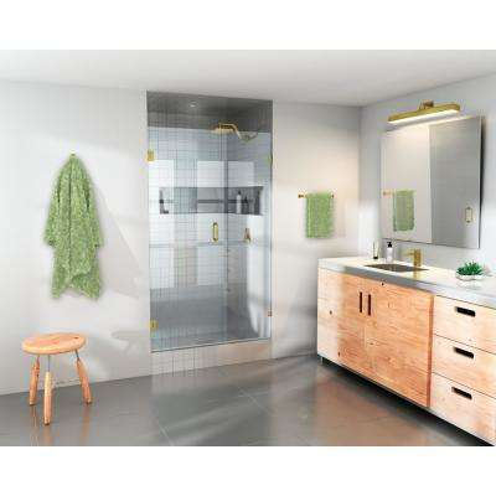 37 in. x 78 in. Frameless Pivot Wall Hinged Shower Door in Satin Brass