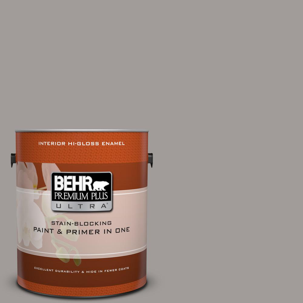 1 gal. #BNC-17 Casual Gray Hi-Gloss Enamel Interior Paint and Primer