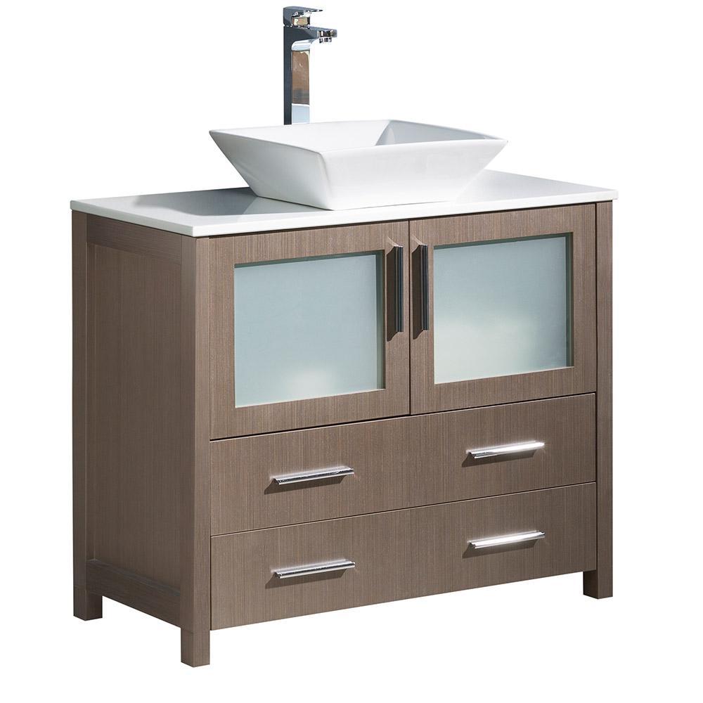 Torino 36 in. Bath Vanity in Gray Oak with Glass Stone Vanity Top in White with White Basin