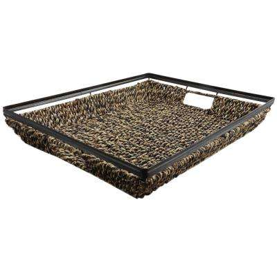 Natural Trends Dark Brown Seagrass Tray with Metal Frame