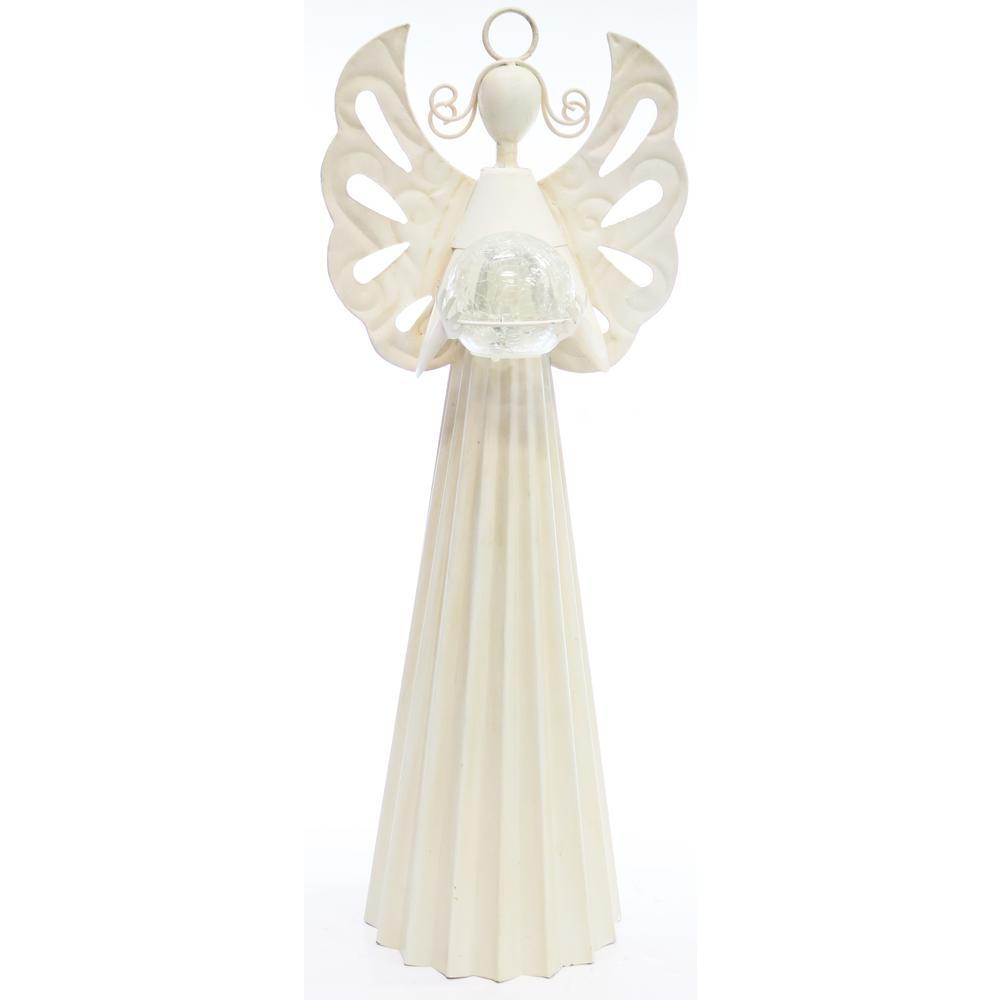White Metal Angel Statue Holding Glass Ball w/LED Light