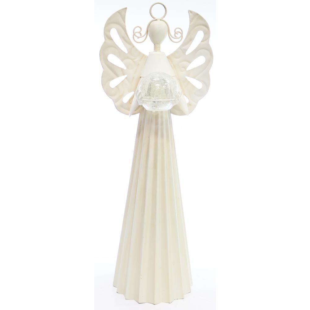White Metal Angel Statue Holding Glass Ball w/LED Light