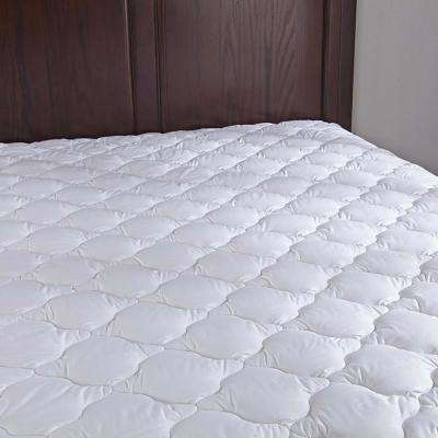 Puredown 100% Cotton Top Down Alternative Mattress Pad Four-leaf Clover Quilted Queen in White