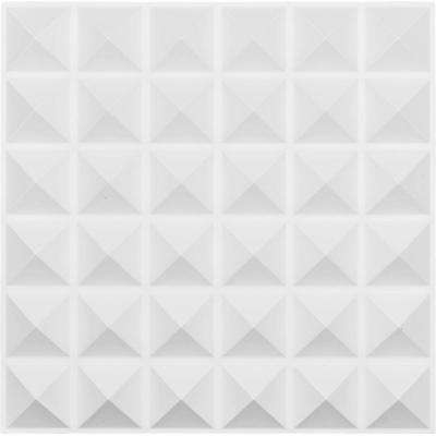 1 in. x 19-5/8 in. x 19-5/8 in. White PVC Damon EnduraWall Decorative 3D Wall Panel