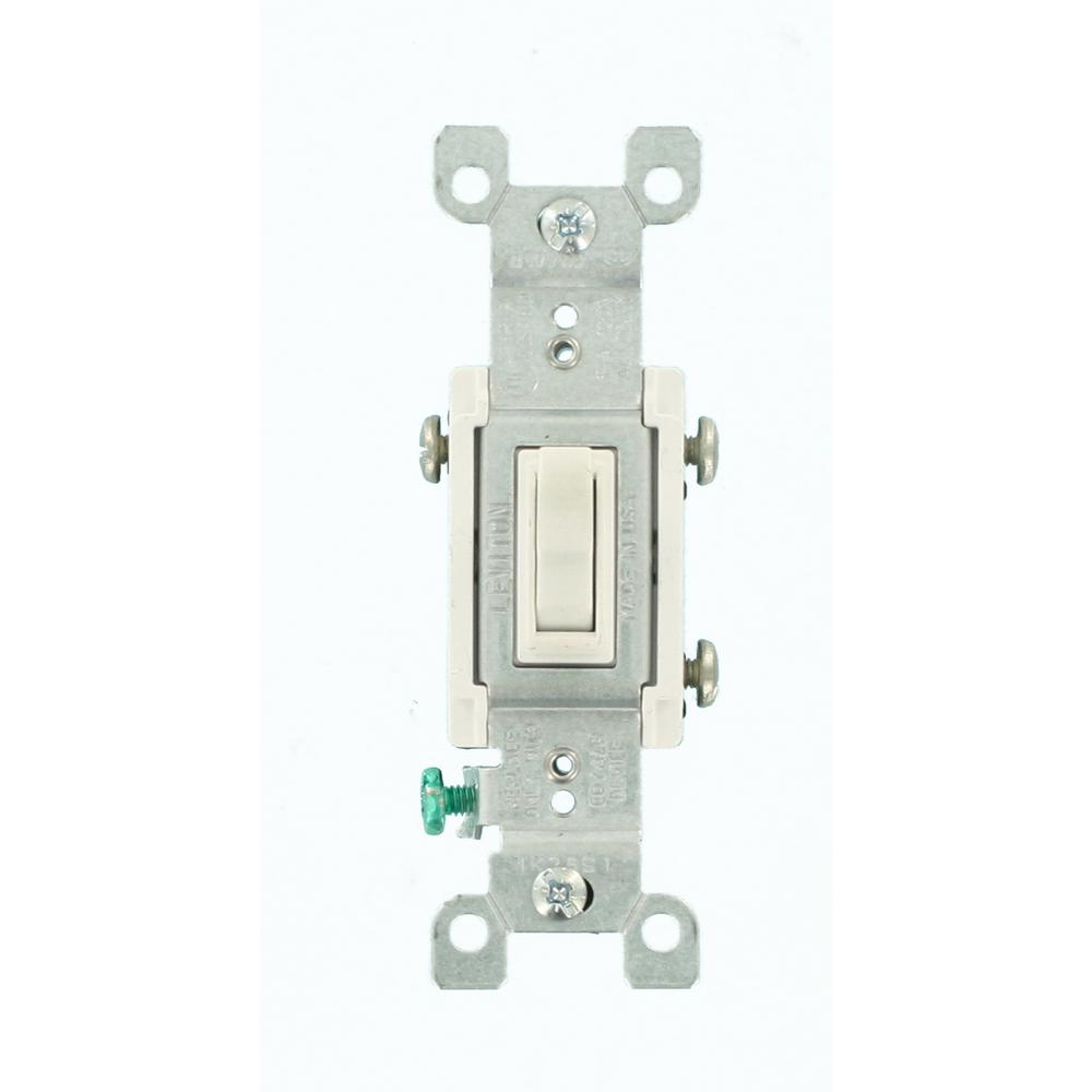 15 Amp 3-Way CO/ALR AC Quiet Toggle Switch, White