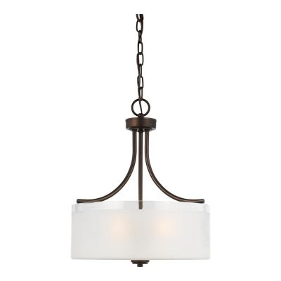Norwood 3-Light Burnt Sienna Pendant with Clear Highlighted Satin Etched Glass Shade