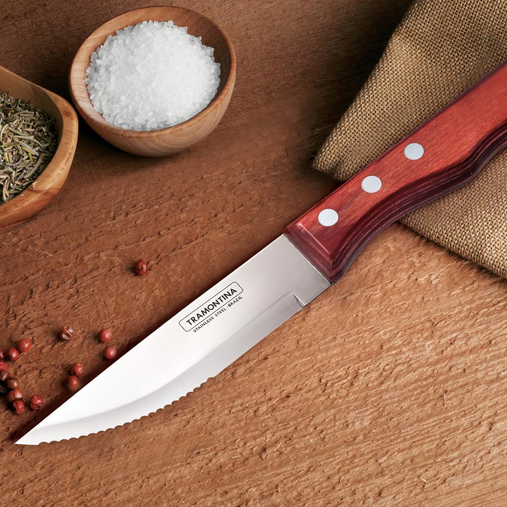 Exceptional Tramontina Porterhouse 5 Piece Steak Knife Set With Hardwood Counter Block