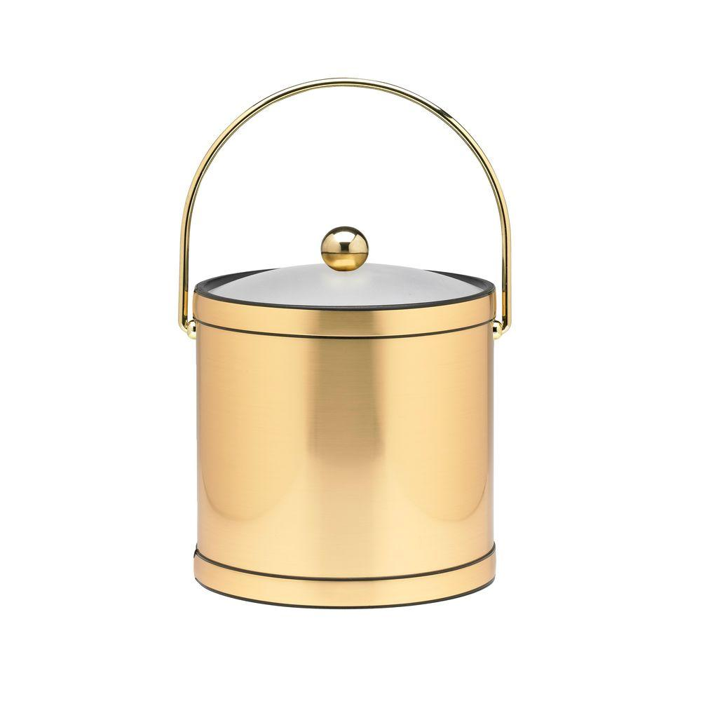 Kraftware 3 Qt. Brushed Brass Mylar Ice Bucket with Bale Handle, Lucite Cover and Round Knob