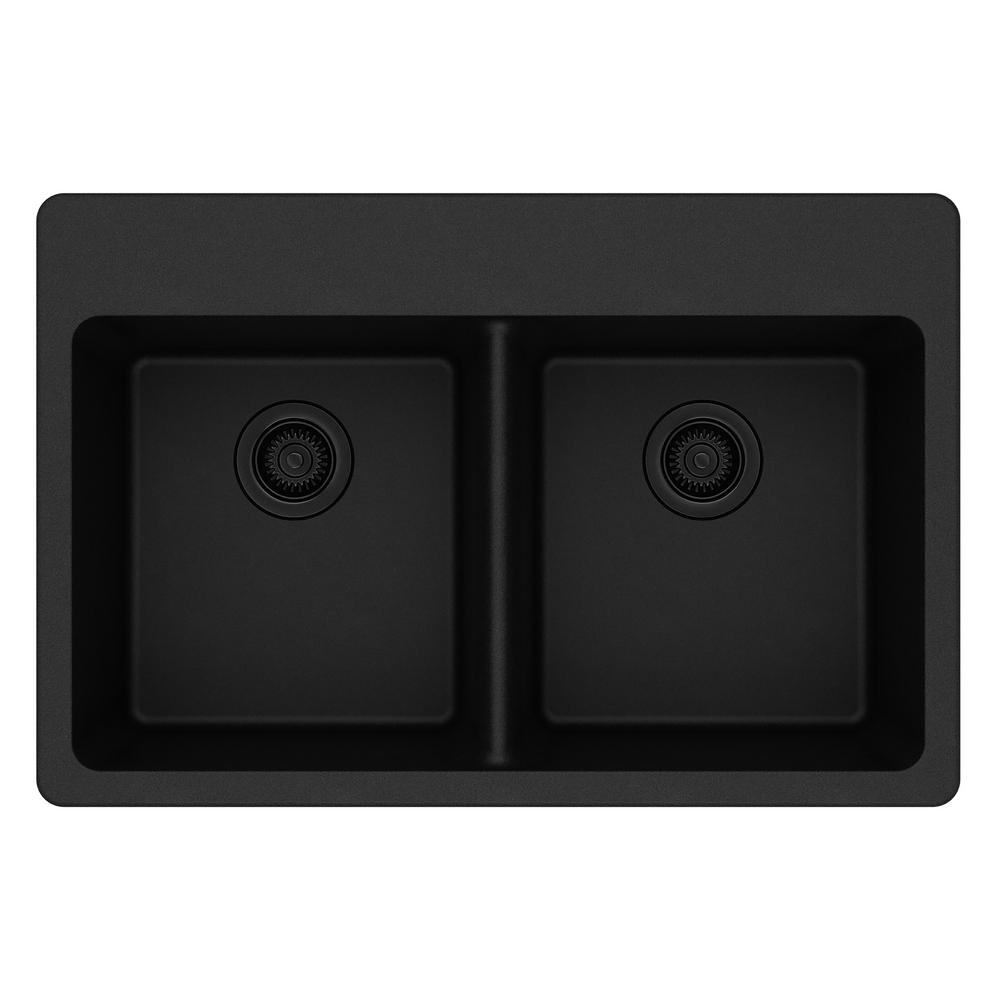 Kitchen Sink Black: Elkay Quartz Classic Drop-In Composite 33 In. Double Bowl