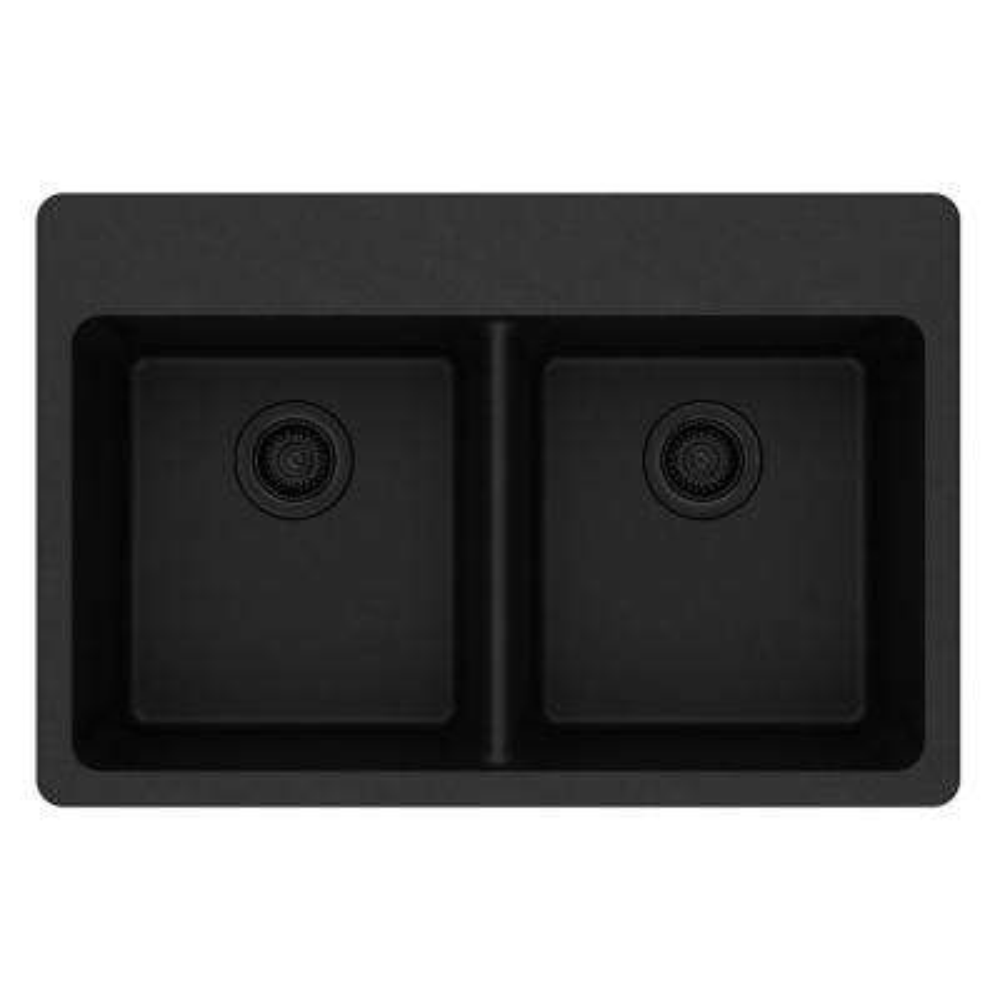 Quartz Classic Drop-In Composite 33 in. Double Bowl Kitchen Sink in Black