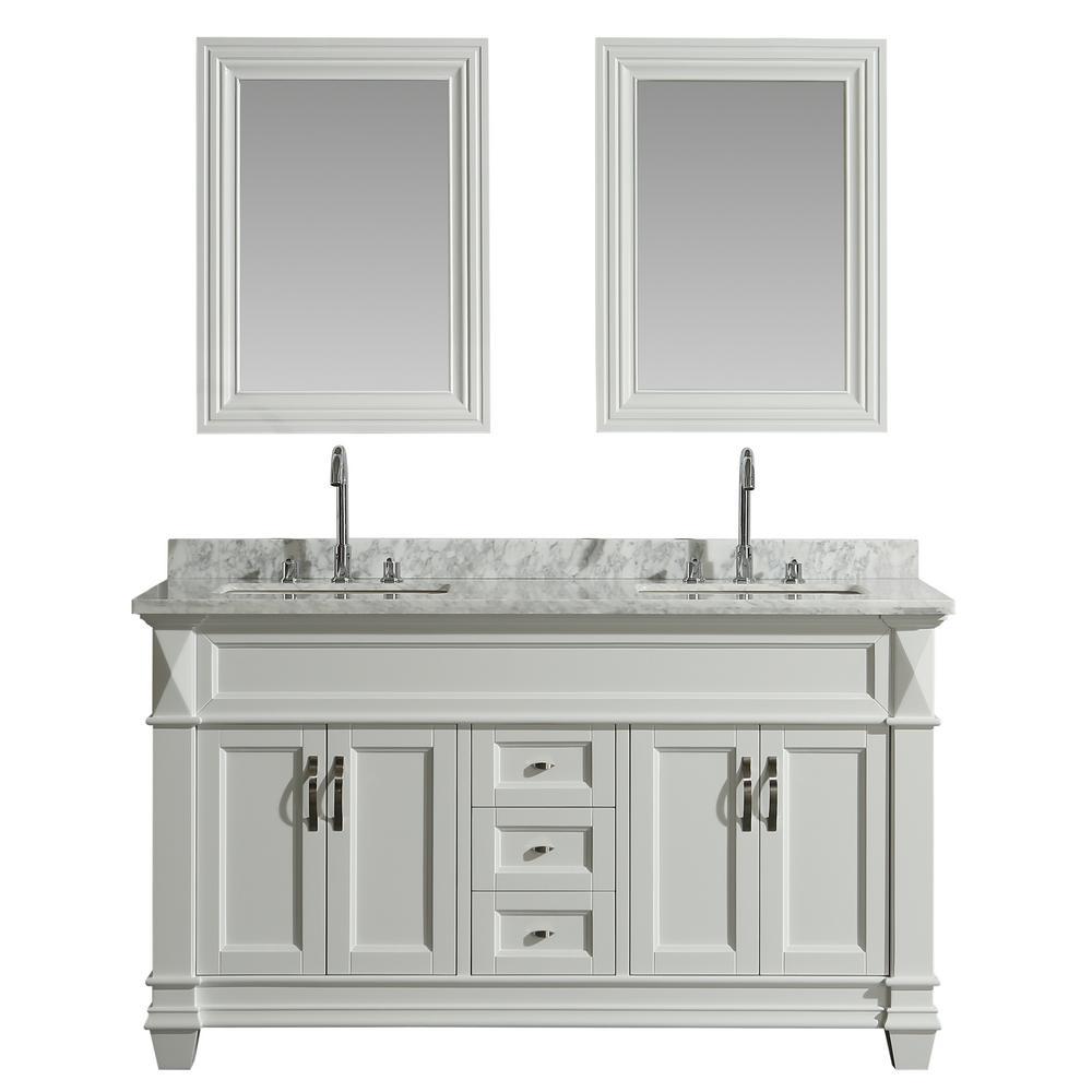 Hudson 61 in. W x 22 in. D x 34 in. H Vanity in White with Marble Vanity Top in Carrara White, Basin and Mirror