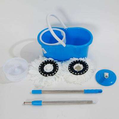360° Spin Mop with Bucket and Dual Mop Heads in Blue