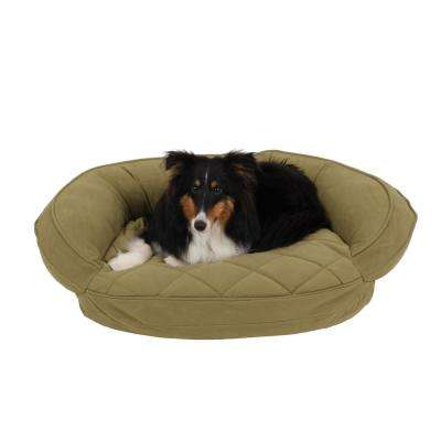 Small Sage Microfiber Quilted Bolster Bed with Moister Protection