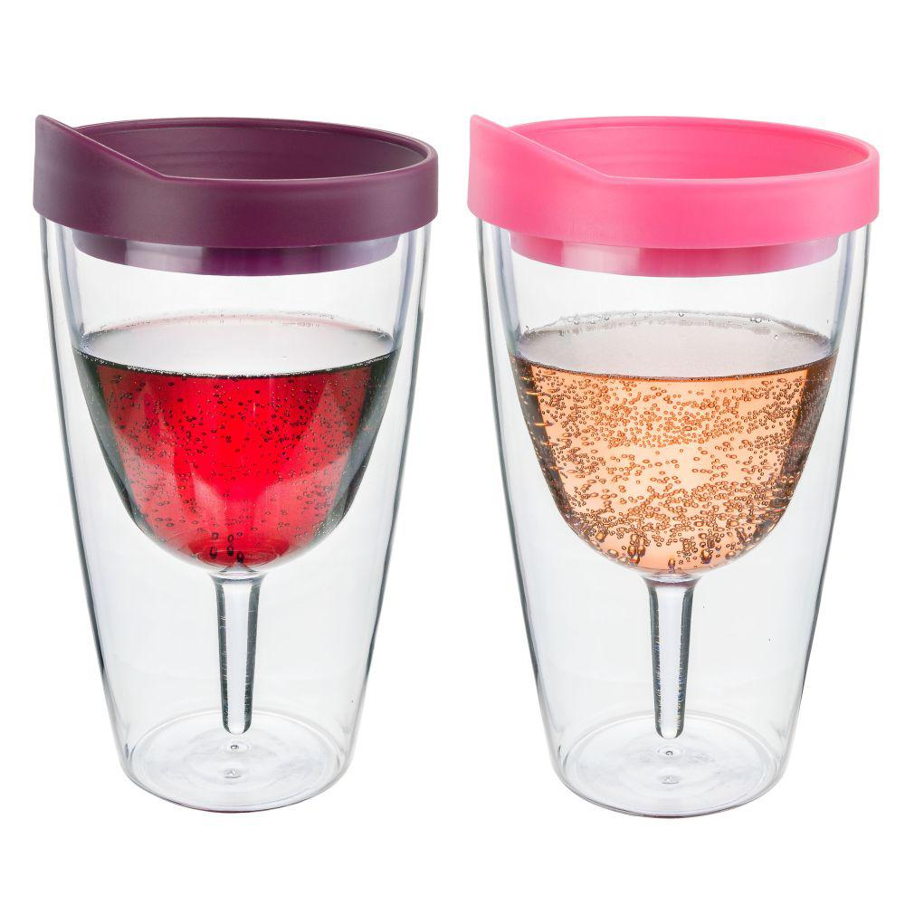 2-Piece Merlot and Pink Double Wall Acrylic Insulated Wine Tumbler Set