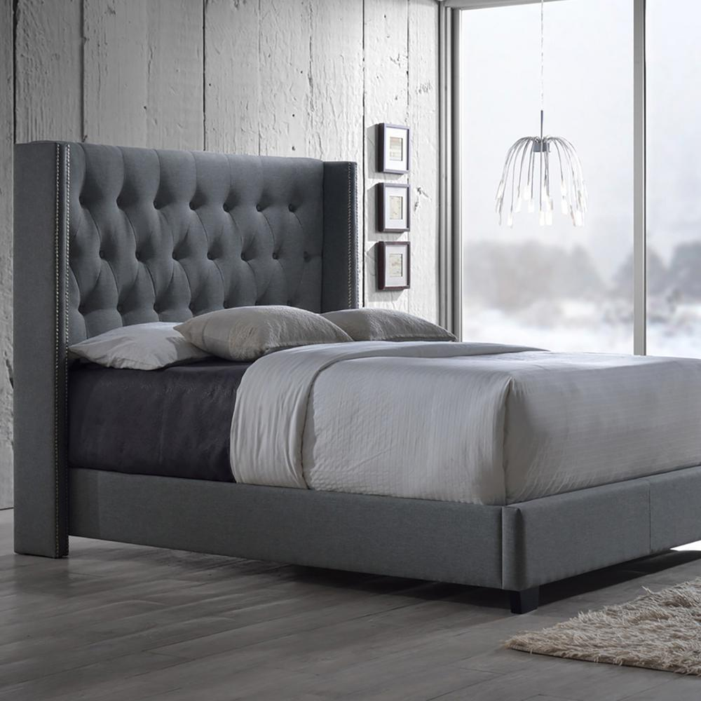Exceptionnel Baxton Studio Katherine Transitional Gray Fabric Upholstered King Size Bed  28862 6279 HD   The Home Depot