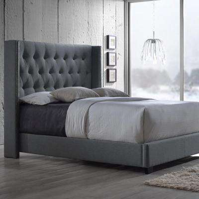 Katherine Transitional Gray Fabric Upholstered King Size Bed. Beds   Headboards   Bedroom Furniture   The Home Depot