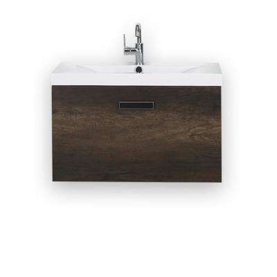 31.5 in. W x 18.2 in. H Bath Vanity in Brown with Resin Vanity Top in White with White Basin