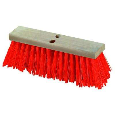 18 in. Polypropylene Heavy Duty Street Sweep with Orange Bristle (6-Case)