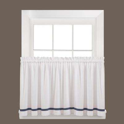 Semi-Opaque Kate 36 in. L Polyester Tier Curtain in Blue (2-Pack)