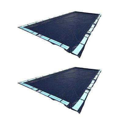 25 x 45' Dark Blue Rectangular In Ground Swimming Pool Cover (2 Pack)