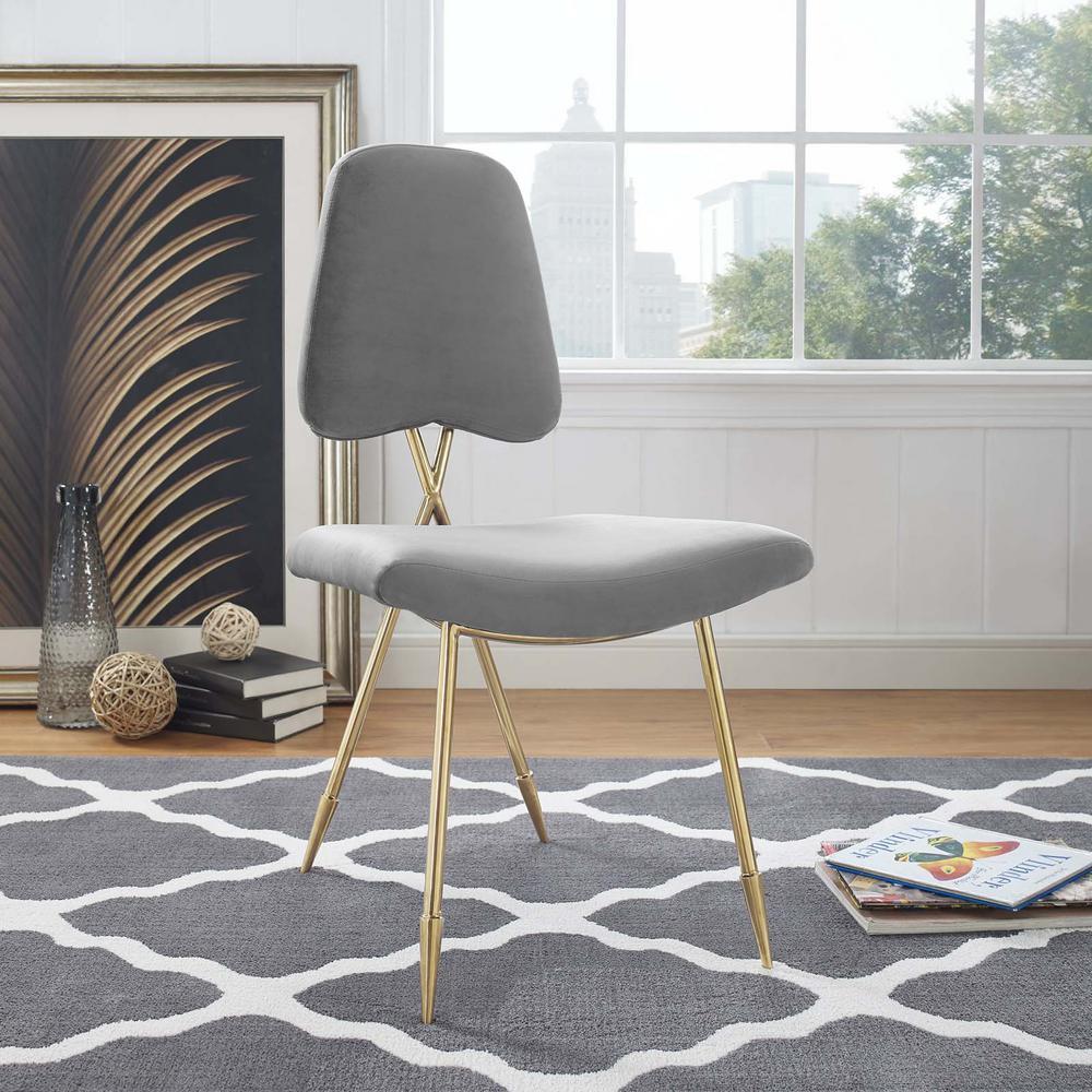 Ponder Upholstered Velvet Dining Side Chair in Gray