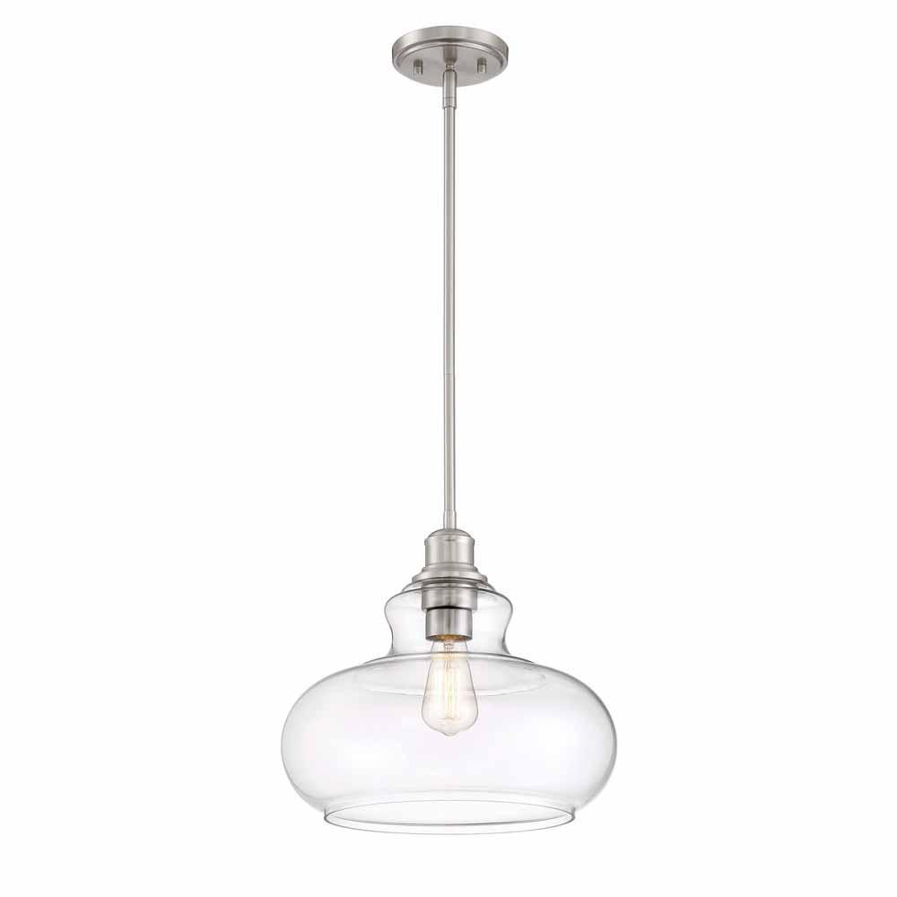 Cordelia Lighting 1-Light Brushed Nickel Hanging Pendant