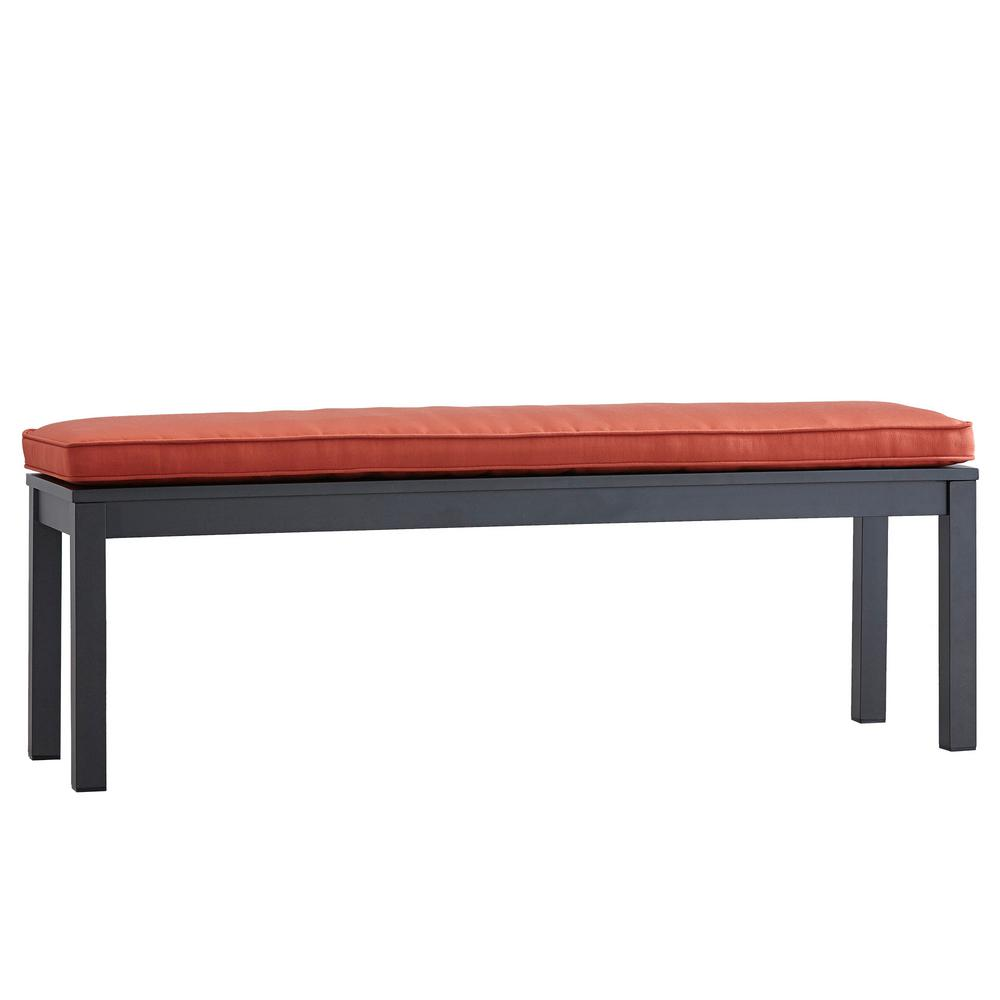 Thoren Aluminum Outdoor Bench with Red Cushion