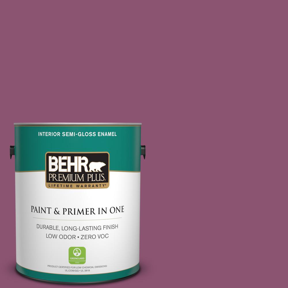 1 gal. #PPU1-17 Majestic Orchid Zero VOC Semi-Gloss Enamel Interior Paint