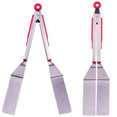 Brushed Stainless Quick Scoop Red Spatula Tongs (Set of 2)